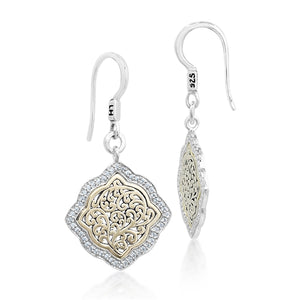 18K Gold Flat Open Scroll Diamond Earrings - Lois Hill Jewelry
