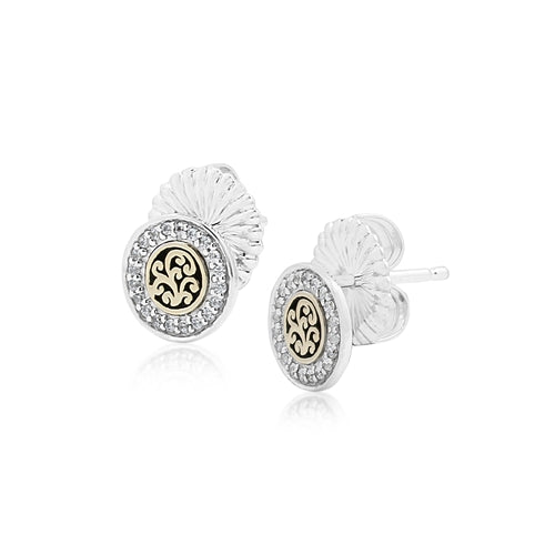 18K Gold Flat Open Scroll, Round Diamond Stud Earrings