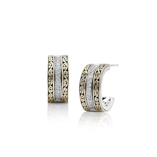 18K Gold Flat Open Scroll, Diamond Hoop Earrings
