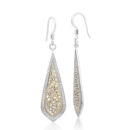 Long Teardrop 18K Gold & Diamond Earrings - Lois Hill Jewelry