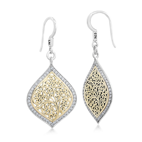 18K Gold Signature Flat Scroll, Diamond Drop Earrings