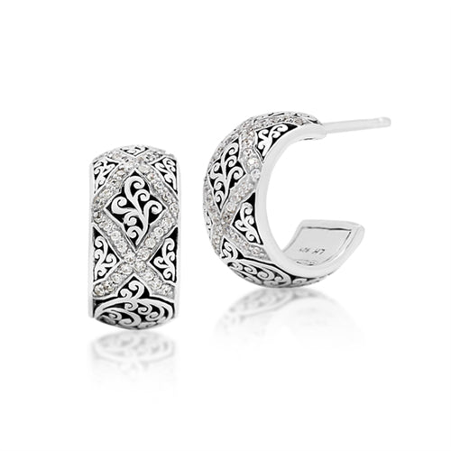 Diamond Scroll Small Hoops - Lois Hill Jewelry