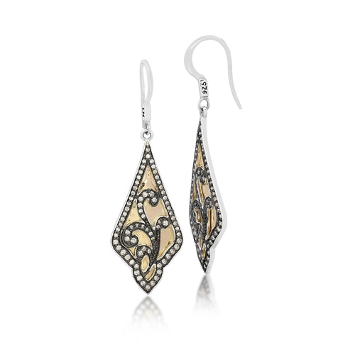 Brown Diamond & 18k Gold Open Scroll Earrings