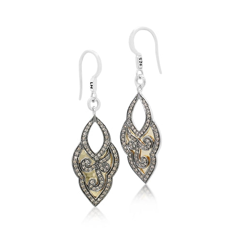 Open Lace Bulb Scroll Brown Diamond & 18k Gold Earrings