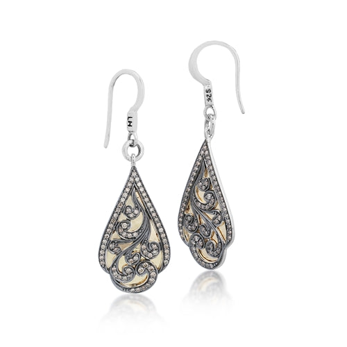 18k Gold & Brown Diamond Drop Earrings