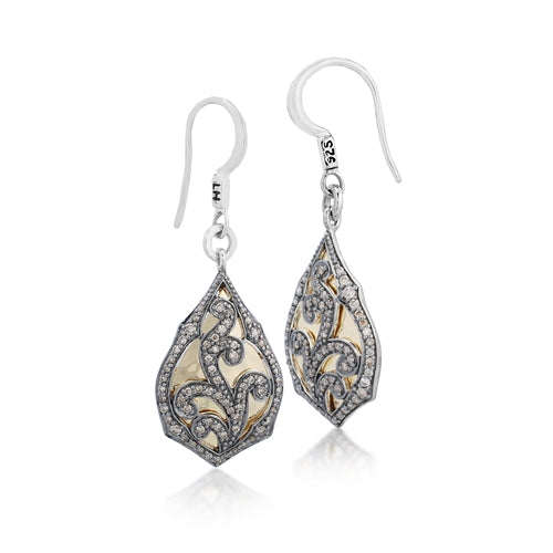 18k Gold Brown Diamond Teardrop Earrings