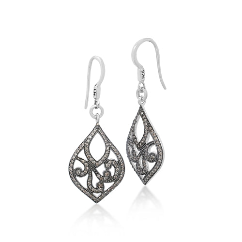 Brown Diamonds, Open Scroll Teardrop Earrings