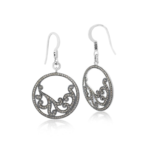 Brown Diamonds, Open Scroll Round Earrings - Lois Hill Jewelry