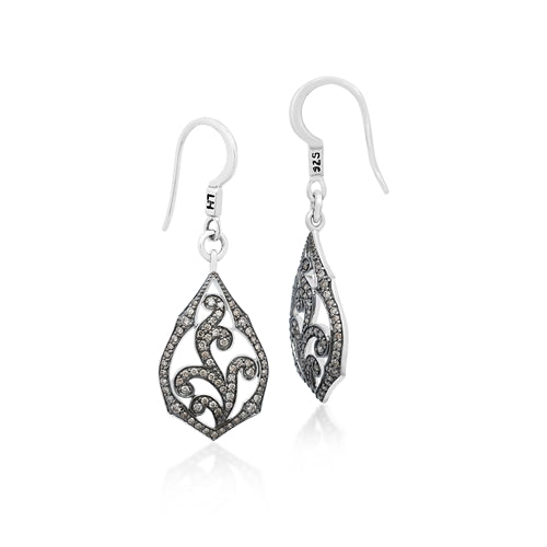 Brown Diamonds, Open Scroll Small Earrings - Lois Hill Jewelry