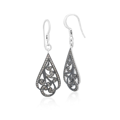 Brown Diamonds, Open Scroll Earrings