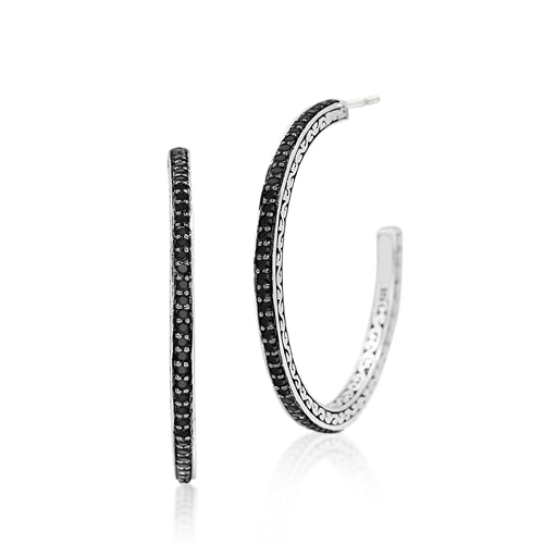Black Sapphire Signature Carved Scroll Hoops