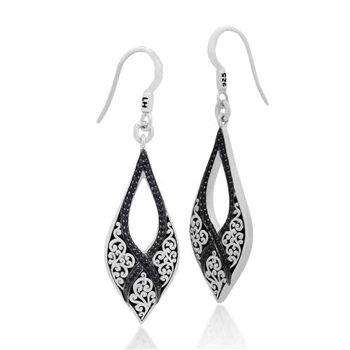 Black Sapphire, Signature Carved Scroll Teadrop Earring
