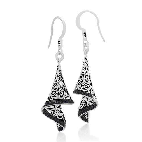 Black Sapphire Carved Scroll Foldover Earrings
