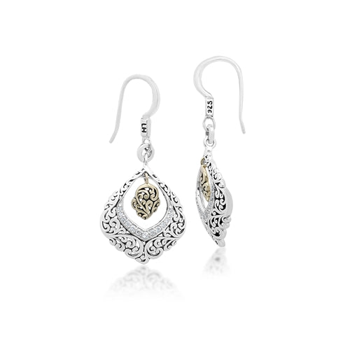 18K Gold, White Diamond, Open Scroll Teardrop Earrings