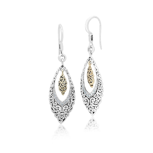 18K Gold, White Diamond, Open Scroll Marquise Earrings