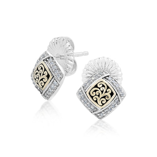 18K Gold, White Diamond, Open Scroll stud Earrings