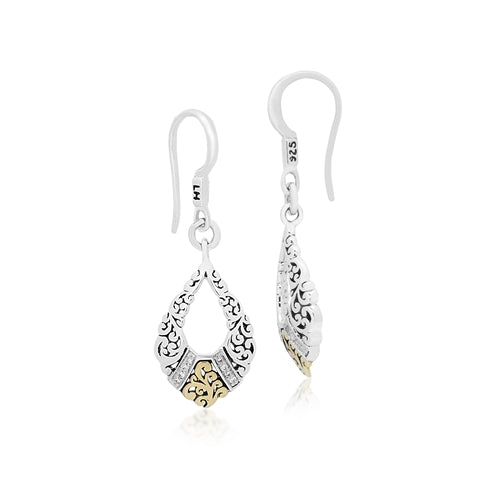 18K Gold, White Diamond, Open Scroll drop Earrings