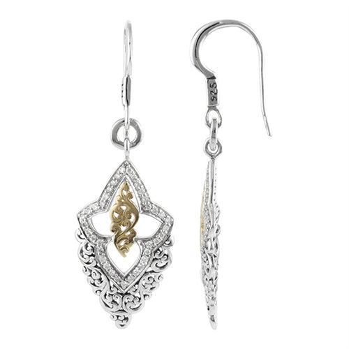 18K Gold, White Diamond, Open Scroll Small Drop Earrings