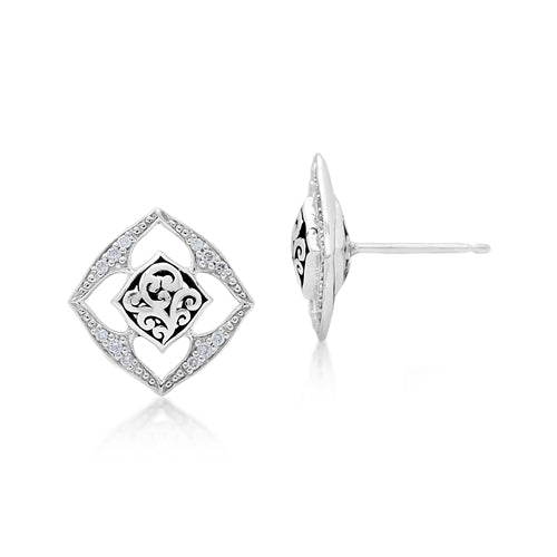 Open Scroll & Diamond Stud Earrings