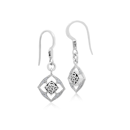Open Scroll & Diamond Drop Earrings