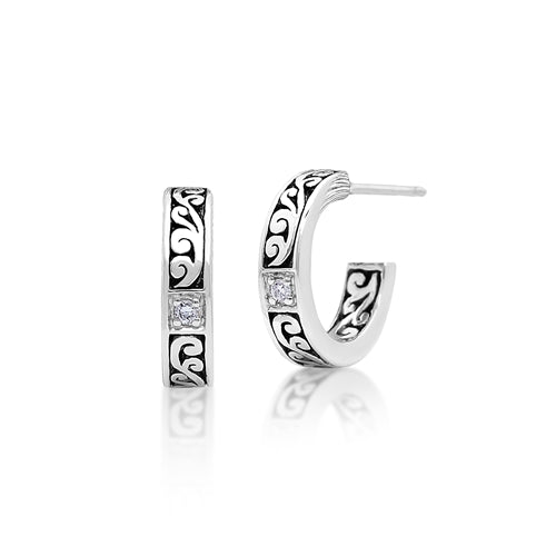 LH Signature Sterling Silver Scroll Hoop Earrings with White Diamond Accents