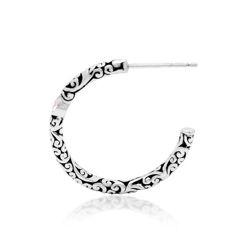 LH Signature Sterling Silver Scroll Rounded Hoop Earrings with White Diamond Accents