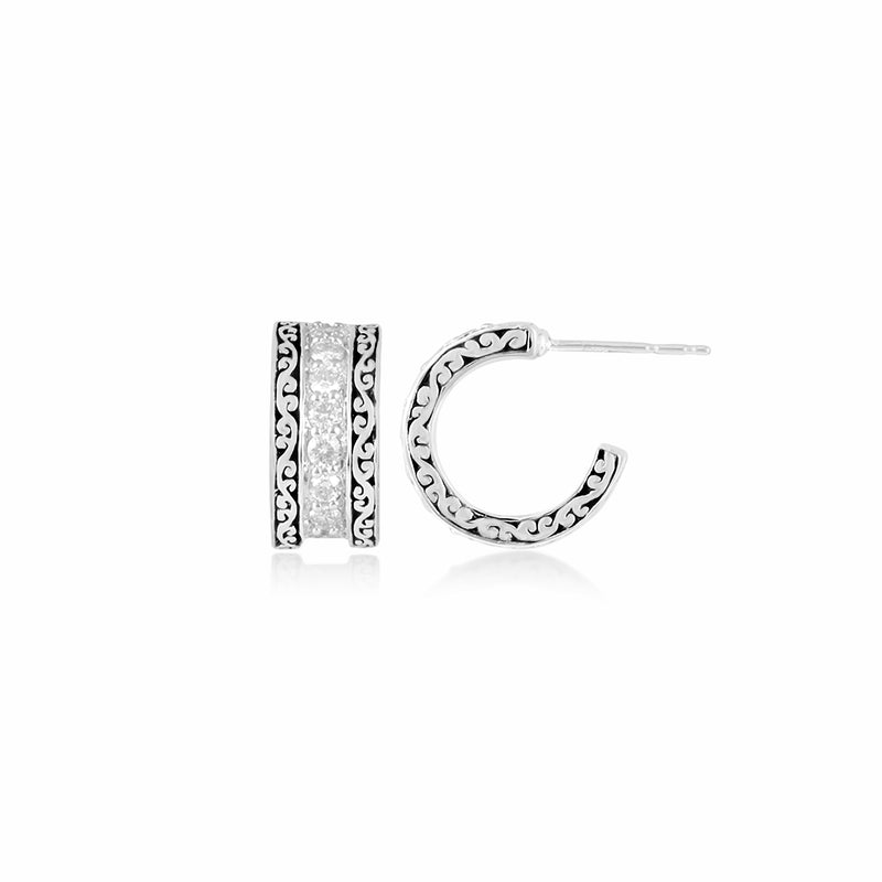 White Diamond with Classic Signature Scroll Side Hoop Earrings