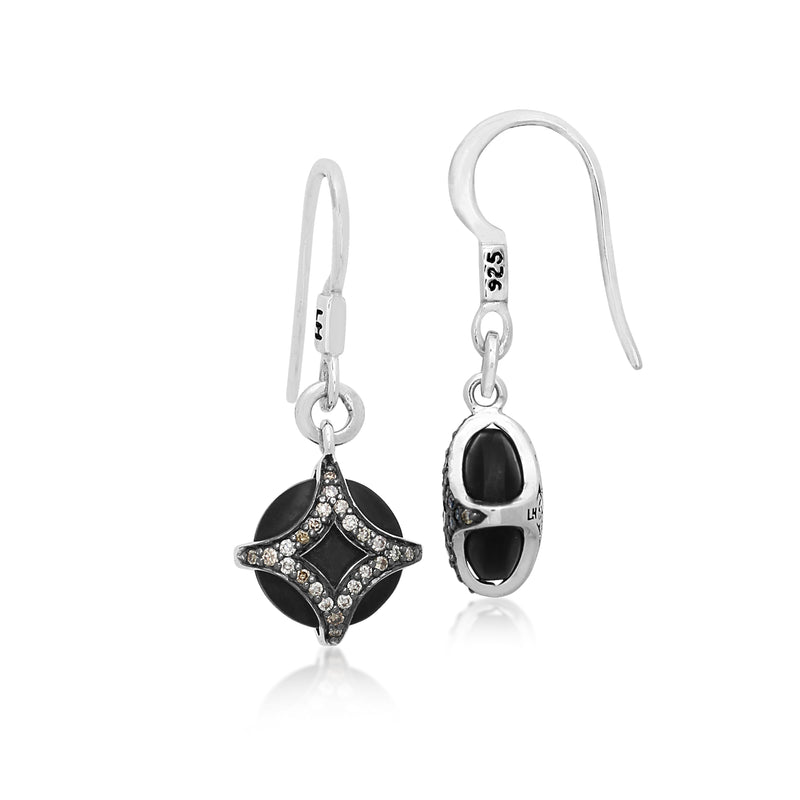 Brown Diamond & Round Matte Black Onyx Earrings