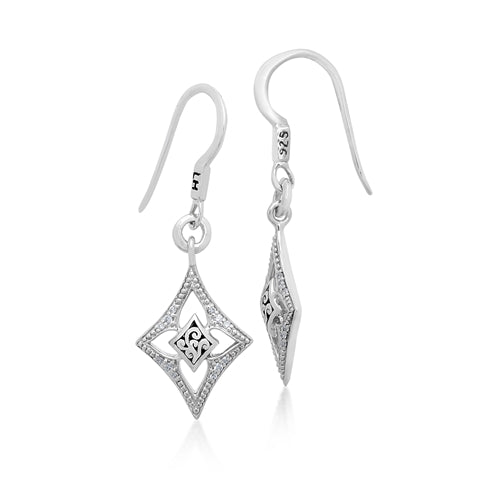 White Diamond LH Signature Scroll Small Diamond-shaped Open Frame Drop Earrings