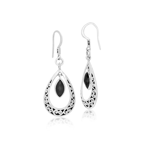 Classic Cutout Scroll and Black Onyx Drop Earrings