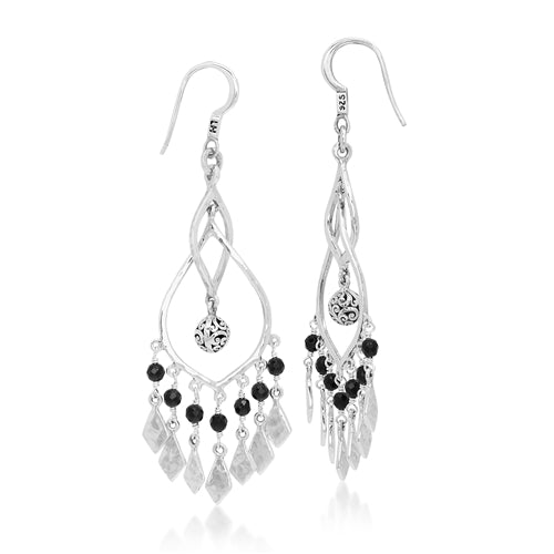 Dangle Earrings with Classic Signature Scroll Bead and Black Onyx