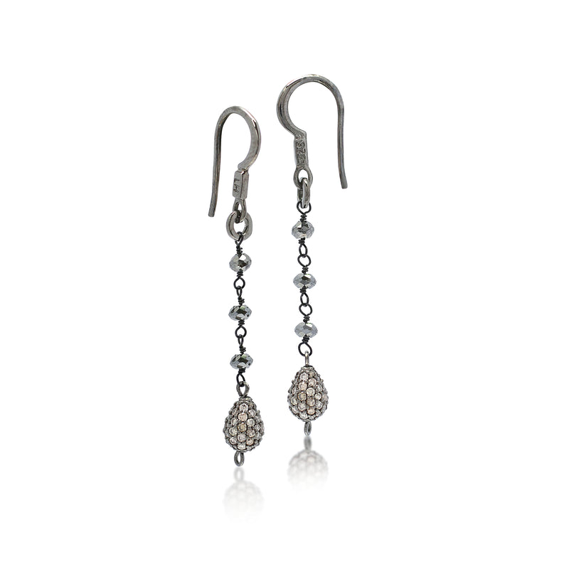 Rough Cut Black Diamond Wire-Wrapped with Brown Diamond Pave Black Rhodium-Plated Fishook Earrings. 35mm Drop (1.66 ct)