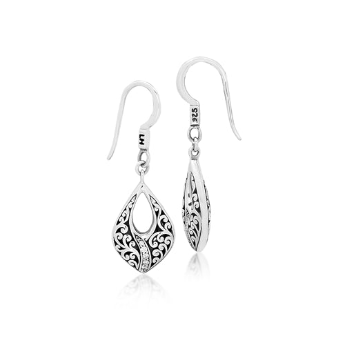 Classic Signature Open Scroll Diamond Swish Teardrop Earrings