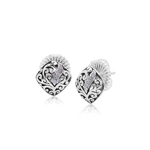 Cutout Scroll & Diamond Stud Earrings