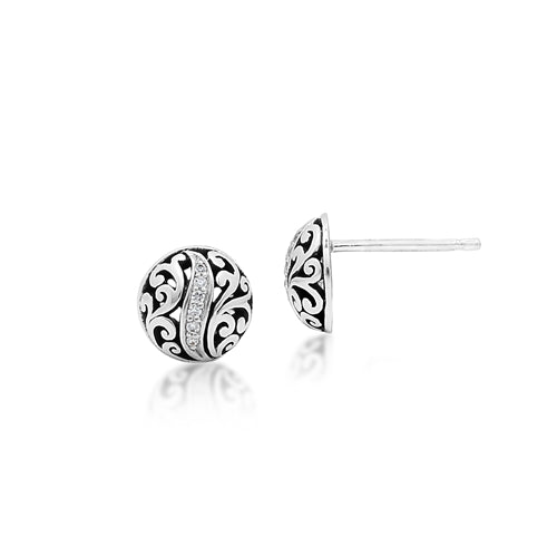 White Diamond LH Signature Scroll Round Stud Earrings in Sterling Silver
