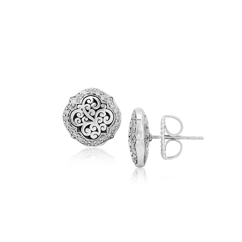 Diamond Scroll Stud Earrings