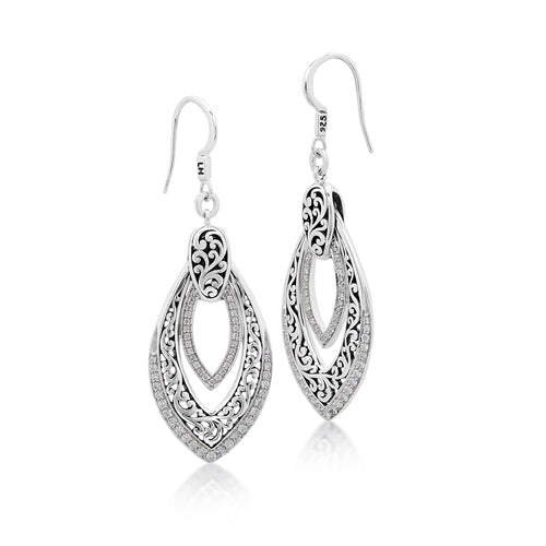 Double Open Diamond Scroll Earrings - Lois Hill Jewelry
