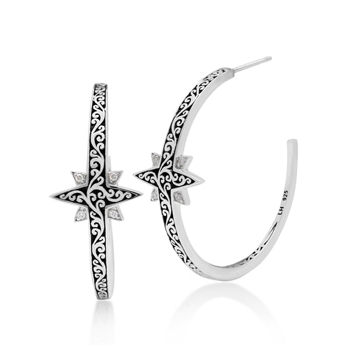 Classic Cutout Scroll and Diamond Starburst Hoop Earrings
