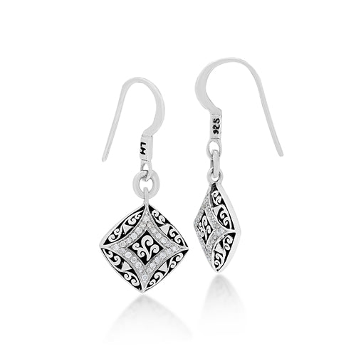Sterling Silver Diamond Shaped Drop Earrings with White Diamond - Lois Hill Jewelry