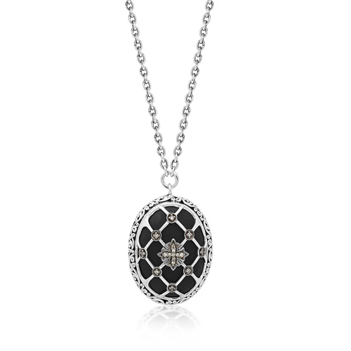 Brown Diamond & Matte Black Onyx Caged Oval Pendant Necklace