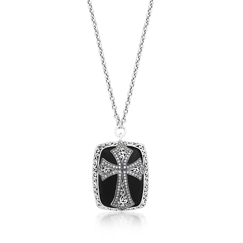 Brown Diamond & Matte Black Onyx Cross Pendant Necklace
