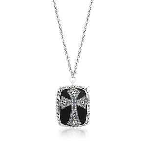 Brown Diamond & Matte Black Onyx Cross Pendant Necklace - Lois Hill Jewelry