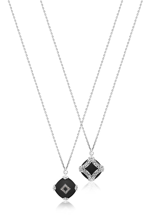 Brown Diamond & Matte Black Onyx Pendant Necklace