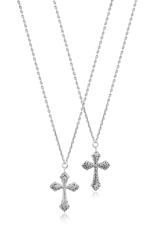 Cutout Scroll and Diamond Cross Necklace