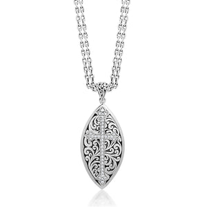 Double Chain Marquise Cross Diamond Necklace - Lois Hill Jewelry