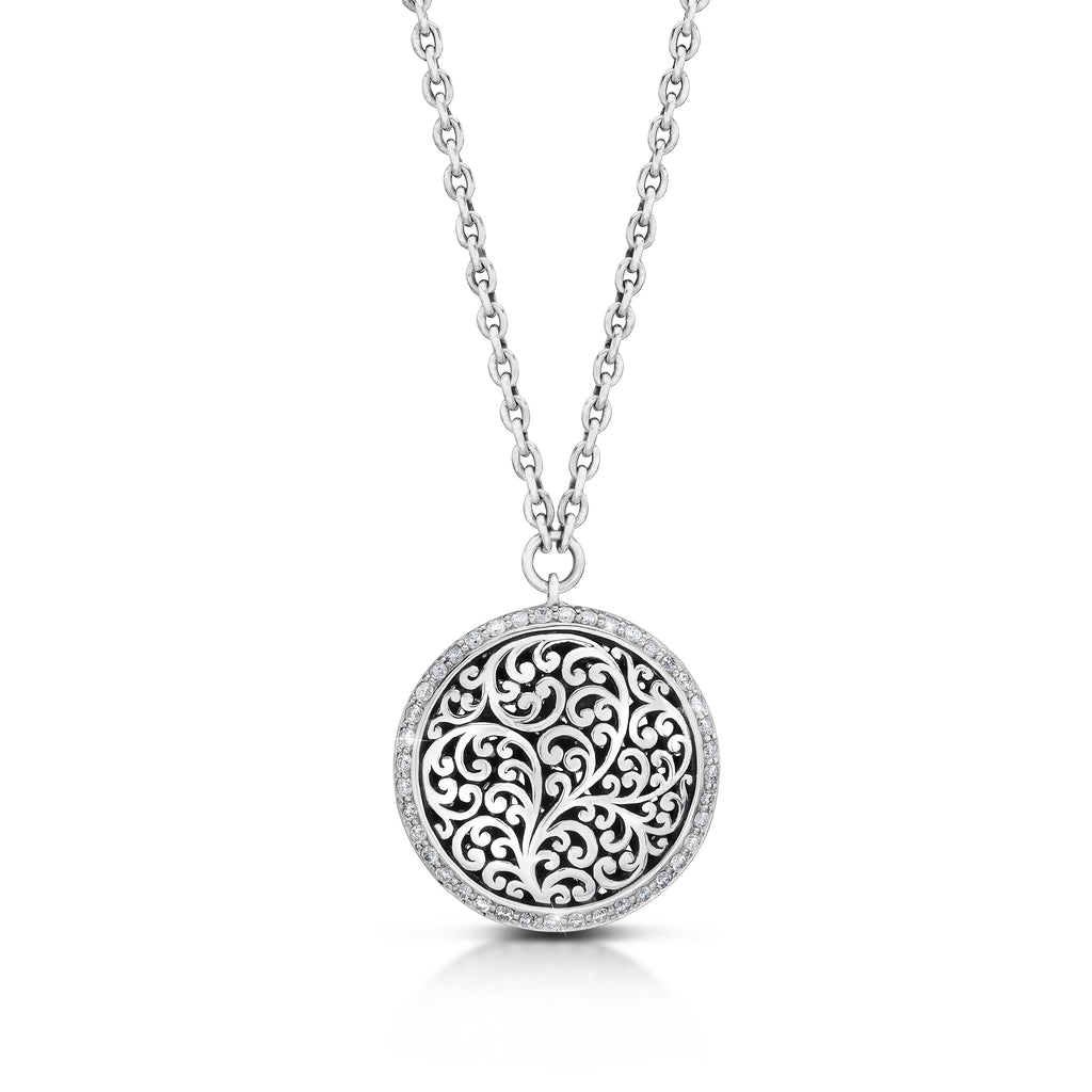 Round Classic Carved Scroll with Diamond Border Pendant Necklace - Lois Hill Jewelry