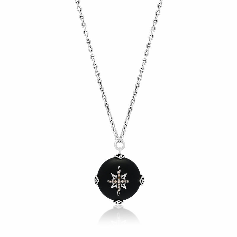 Brown Diamond Starburst & Round Matte Black Onyx Necklace