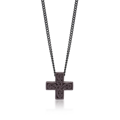 Small Brown Diamond Cross Sign Pendant Necklace in Black Rhodium Plated Sterling Silver