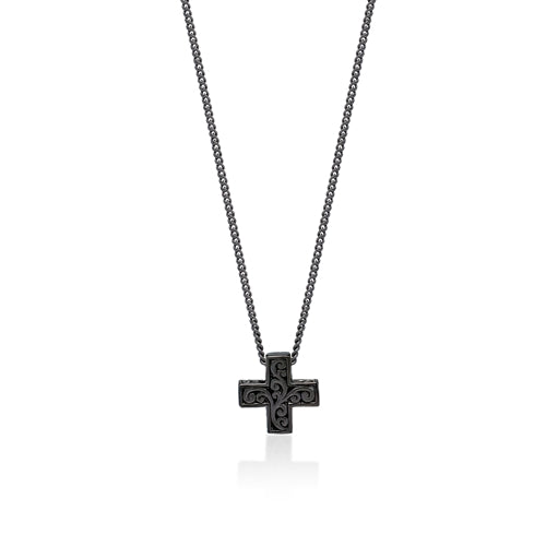Black Diamond Cross Sign Pendant Necklace in Black Rhodium Plated Sterling Silver