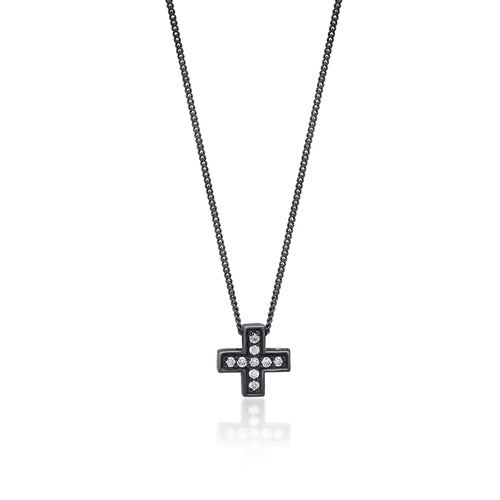 White Diamond Cross Sign Pendant Necklace in Black Rhodium Plated Sterling Silver - Lois Hill Jewelry